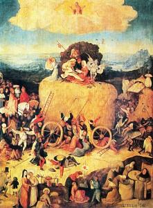 Hieronymus Bosch: Heuwagen, Triptychon, Mitteltafel – Der Heuwagen, um 1500