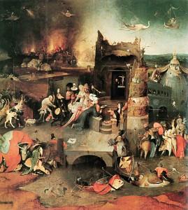 Hieronymus Bosch: Antoniusaltar, Triptychon, Mitteltafel – Versuchung des H eiligen Antonius, um 1500